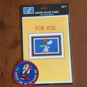 Peanuts Other - Peanuts! Snoopy card with magnet and Linus patch